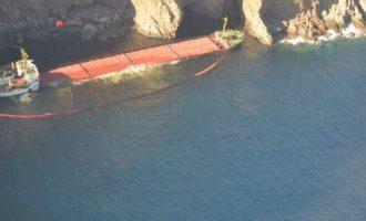 Ρύπανση από το ναυάγιο στη Μύκονο – Απλώνουν πλωτά φράγματα