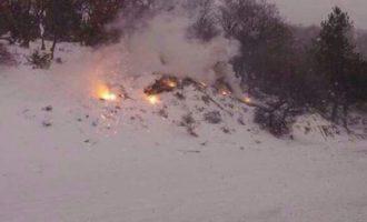 Σπάνιο φαινόμενο: Στην Κομοτηνή έπιασε φωτιά μέσα στο χιόνι (φωτο)