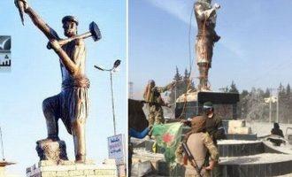 Τούρκοι και τζιχαντιστές γκρέμισαν τον ανδριάντα του μυθικού ήρωα Χασενκάρ Κάουα στην Εφρίν