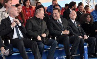 """Ο Πούτιν έδωσε """"ραντεβού"""" με Κιμ Γιονγκ Ναμ στις κερκίδες του Μουντιάλ"""