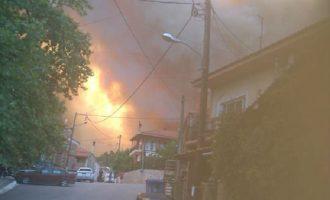Μαίνεται η φωτιά στην Εύβοια: Εκκενώθηκε το χωριό Σταυρός – Διακόπηκε η κυκλοφορία (βίντεο)