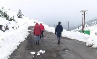 Στα λευκά το Χιονοδρομικό Κέντρο της Οστρακίνας στην Αρκαδία