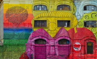 O street artist Blu και το γκράφιτι με τα 27 πρόσωπα