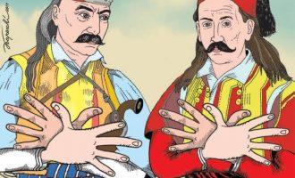 Σκίτσο με τον Κολοκοτρώνη και τον Μπότσαρη να σχηματίζουν τον αλβανικό αετό