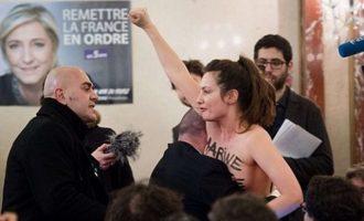 Γυμνόστηθη Femen κατά Λεπέν: Μαρίν, είσαι ψεύτικη φεμινίστρια (βίντεο)