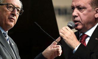"""""""Φάπα"""" Γιούνκερ σε Ερντογάν: Καμία πρόοδος όσο είναι δημοσιογράφοι στη φυλακή"""