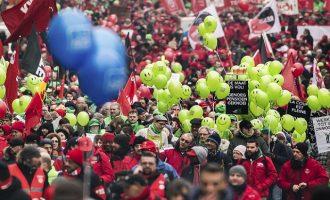 Xιλιάδες εργαζόμενοι διαδήλωσαν στις Βρυξέλλες για το συνταξιοδοτικό σύστημα
