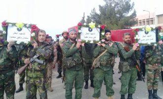 Με τιμές κηδεύτηκαν 10 Ελληνορθόδοξοι Σύροι παραστρατιωτικοί που σκοτώθηκαν από αμερικανικά αεροπλάνα