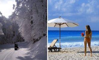 """Δείτε πώς θα μας """"τρελάνει"""" ο καιρός με χιόνια στη Μακεδονία και καύσωνα στην Κρήτη (χάρτες)"""