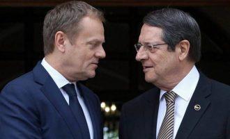 Τουσκ-Αναστασιάδης συζήτησαν για τις τουρκικές προκλήσεις στην κυπριακή ΑΟΖ
