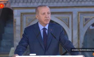 Ο Ερντογάν βεβήλωσε την Αγία Σοφία – Την αποκάλεσε «τζαμί» που το κατάντησαν οι κεμαλικοί «στάβλο»