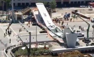 Τουλάχιστον τέσσερις νεκροί από την τραγική κατάρρευση της πεζογέφυρας στο Μαϊάμι (βίντεο)