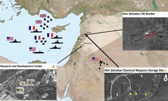Δορυφορικές εικόνες από τους στόχους πριν και μετά την πυραυλική επίθεση στη Συρία