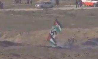 Οι τζιχαντιστές της Χαμάς ύψωσαν σημαία με σβάστικα στα σύνορα της Γάζας με το Ισραήλ