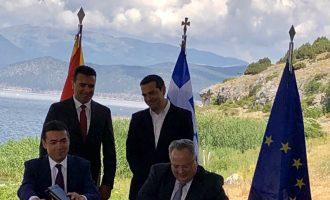 Υπογράφηκε η συμφωνία για το ονοματολογικό της ΠΓΔΜ, από τους Κοτζιά-Ντιμιτρόφ-Νίμιτς