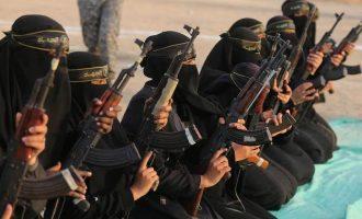 Παλαιστίνιες τζιχαντίστριες έκαναν στρατιωτική επίδειξη στη Λωρίδα της Γάζας (φωτο)