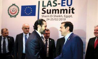 Τσίπρας και Χαρίρι συζήτησαν για την ενίσχυση των σχέσεων Ελλάδας-Λιβάνου