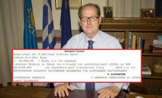 Με 12.000 ευρώ δημοτικά χρήματα ο Νίκας της ΝΔ επιχορήγησε τον «σαϊτοπόλεμο»