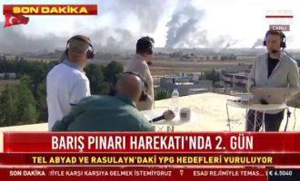 Κουρδικές σφαίρες από την Τελ Αμπιάντ περνάνε πάνω από τα κεφάλια του HaberTurk (βίντεο)