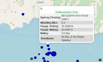 «Τρέμει» η Κρήτη: Νέος σεισμός κοντά στην Παλαιόχωρα