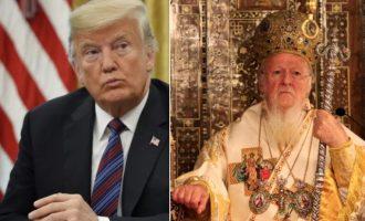 Ο Ντ. Τραμπ ευχήθηκε τηλεφωνικά «Χριστός Ανέστη» στον πατριάρχη Βαρθολομαίο
