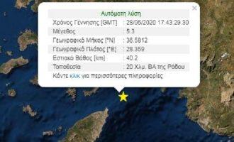 Ισχυρός σεισμός 5,3 Ρίχτερ συγκλόνισε τη Ρόδο