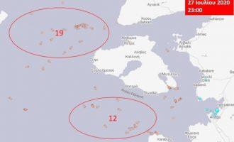 Ο τουρκικός αλιευτικός στόλος παραμένει σε «πρόβα» συνεκμετάλλευσης στο Αιγαίο