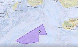Αυτή είναι η περιοχή «ερευνών» του «Oruc Reis» στην ελληνική ΑΟΖ