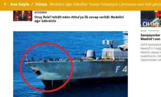 Η «Yeni Safak» δημοσιεύει τη «ΛΗΜΝΟΣ» ως… καρχαρία – «Κατάπιαν αμάσητη» ελληνική τρολιά