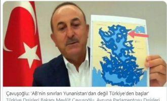 Ο Τσαβούσογλου κράδαινε χάρτη που έδειχνε Ίμβρο και Τένεδο ελληνικές – Τα έχουν «χαμένα»