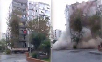 Σεισμός: Επταώροφο κτίριο στη Σμύρνη καταρρέει μπροστά στην κάμερα (βίντεο)