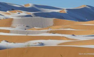 Χιόνισε στη Σαχάρα – Δείτε μοναδικές εικόνες του Καρίμ Μπουσετάτα