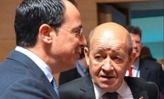 Χριστοδουλίδης και Λε Ντριάν τα είπαν για την παράνομη επίσκεψη Ερντογάν στα Κατεχόμενα