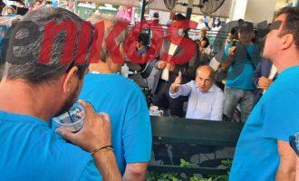 Εργαζόμενοι στα Λιπάσματα Καβάλας την «έπεσαν» στον Χατζηδάκη για τις απολύσεις (βίντεο)