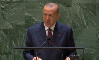 Ο Ερντογάν ζήτησε από το βήμα του ΟΗΕ διάλογο με την Ελλάδα για το Αιγαίο