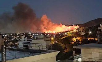 Φωτιά στη Νέα Μάκρη: Κάηκαν σπίτια, ολονύχτια μάχη με τις φλόγες